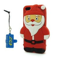 DD(TM) Red 3D Cartoon Cute Santa Claus Father Christmas Soft Silicone Case Skin Protective Cover for Apple iPhone 5 5S 5C 5th Generation with 3 in 1 Anti-dust Plug/LCD Cleaning Cloth/Cable Tie