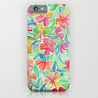 Tropical Floral Watercolor Painting iPhone & iPod Case by Micklyn