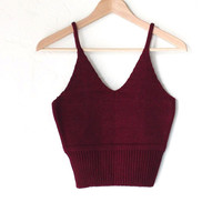 Sweater Knit Crop Top - Burgundy