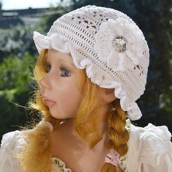 Summer cap Hat COTTON   Cute Crochet aWeSomE Style tam romantic princess