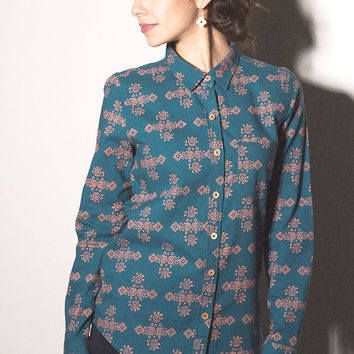 Aya Button Front Shirt - Teal