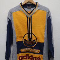 15% OFF Vintage ADIDAS Color Block Pullover Sweater Sweatshirt Gray + Yellow + Red Size S-M