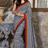 Black and Grey Linen Saree