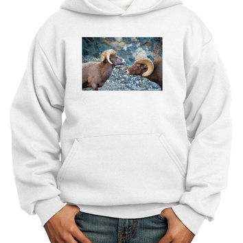 TooLoud Two Bighorn Rams Youth Hoodie Pullover Sweatshirt