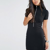 Motel Zip Front Bodycon Dress In Rib