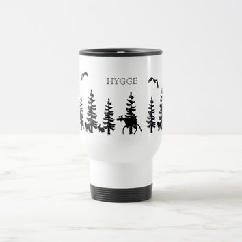 Nordic Hygge with forest and animals in black Travel Mug