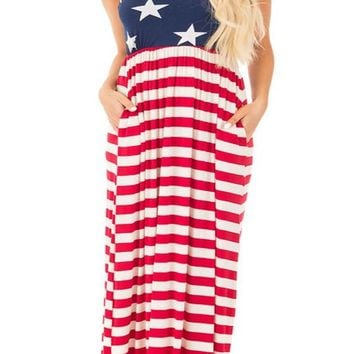 Red Striped American Flag Print Pockets Draped Sleeveless Round Neck Maxi Dress