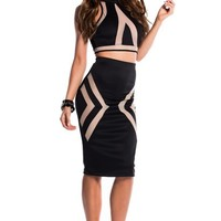 Tori Black Illusion Mesh Cut Out Halter Crop Top Two Piece Dress