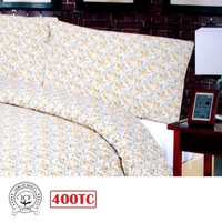 400TC Premium Collection Cotton Quilt Cover Set Chrysanthemum Yellow