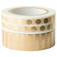 Sugar Paper® Washi Tape Set, 2ct - Gold Stripes and Dots : Target