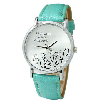 """""""Who Cares I'm Late Anyways"""" Women's Light Green Creative Letter Fashion Faux Leather Quartz Watch"""