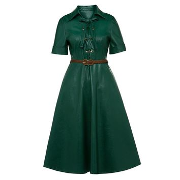 Vintacy Vintage A Line Dress Women Autumn Short Sleeve PU Leather Midi Dresses Elegant Turn Down Collar Belted Office Lady Dress
