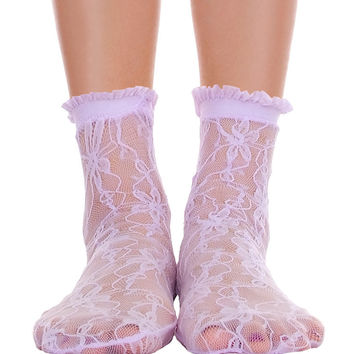 Lace With Ruffle Ankle Socks Lavender