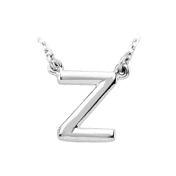 14K White Gold, Kendall Collection, Block Initial Z Necklace, 16 Inch