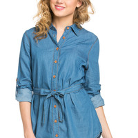 Chambray Tunic Dress with Waist Tie