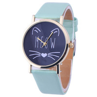 10 Styles Relojes! 2016 New Women Leather Bracelet Watch Gold Case Quartz Watch Laides Casual Cute Cat WristWatch Mujer Montre