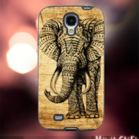 MC52Z,4,aztec,elephant,black white,painting -Accessories case cellphone- Design for Samsung Galaxy S5 - Black case - Material Soft Rubber