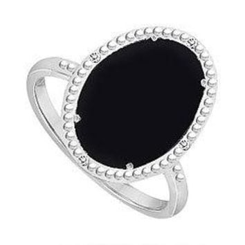 Sterling Silver Black Onyx and Cubic Zirconia Ring 15.08 CT TGW