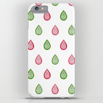 Pink and green raindrops iPhone & iPod Case by Savousepate