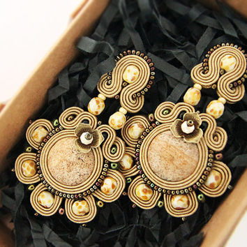 Light brown chandelier earrings with jasper stones, soutache long earrings