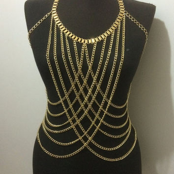 High Polish Metal Spike Draped Body Chain