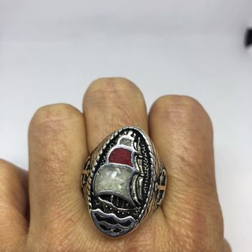 Vintage Southwestern Mother of Pearl Coral inlay ship Men's Ring