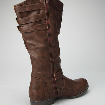 Chocolate Slouchy Buckle Boot