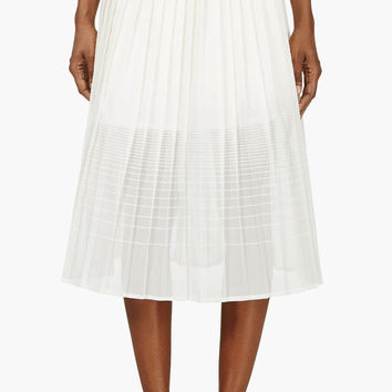 Ostwald Helgason Ivory Gradient Boucl Pleated Skirt