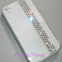 Simply Exquisite Crystal Clear Diamond Bling Rhinestones on Clear Crystal Back Case for Apple iPhone 4 4G 4S made with Swarovski Elements
