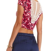 Teaberry Cmb Lace-Back Floral Crop Top by Charlotte Russe
