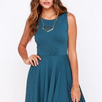 Safford Teal Blue Skater Dress