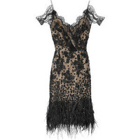 Oscar de la Renta Feather and sequin-embellished lace dress - Polyvore