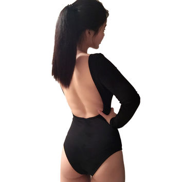 Summer 95% Cotton Backless Sexy Womens Jumpsuits Solid Black Rompers Female nude bodysuit top playsuits Negro Active T0484