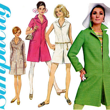 1960s Pantdress Pattern Bust 34 36 Simplicity 7581 Mod Split Skirt Culottes Romper Playsuit Zip Front Shift Womens Vintage Sewing Patterns