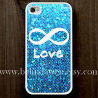 iPhone 4 Case, iphone 4s case, Forever Love iphone 4 case, infinity iphone 4 case, blue sparkle iphone 4case