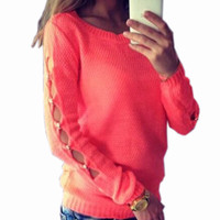 2016 High Quality O-neck Long-Sleeved Solid Loose Women's Sweaters Pullover Knitted Sweater Top 4 Colors LX206