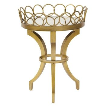 Bright Gold Accent Table with Removable Tray