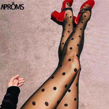 Aproms Sexy Polka Dot See Through Stretch Mesh Tights Women Sheer Stockings Tight  Cool Girls Collant Pantyhose Hosiery 2018