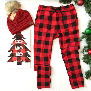 Red Buffalo Plaid Breakout Loungers -Last One! Size Medium
