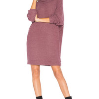 Michael Lauren Vargus Turtleneck Dress in Sangria