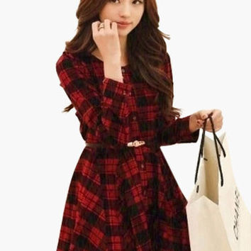 Plaid Long Sleeve Buttoned Skater Dress