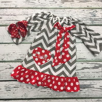 RTS - Baby Girls Valentines Day Dress, Valentines Day Wear, Girls Clothing, Baby Girl Clothing, Holiday Apparel, Baby Girls Hair Bow, LOVE outfit