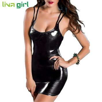 Sexy Club Black Patent Leather Mini Dress Fashion Women Strapless Dance Clubwear Charming Performance Costume Vestidos Dec8