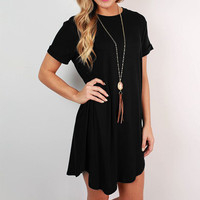 Black Short Sleeve Roll Up Flounced Mini Dress