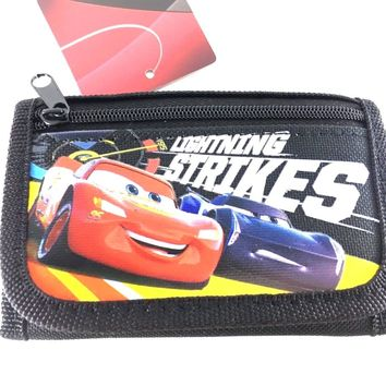 Disney Pixar Cars3 Blazing New Trails Lightning McQueen Red Trifold Wallet-BLACK