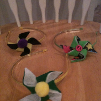 SALE Felt Pinwheel Headband Bows - School Spirit Hairbows