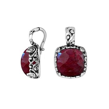 AP-8031-RB Sterling Silver Cushion Shape Pendant With Ruby & Enhancer Pendant Bail