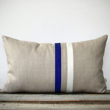 Cobalt and Cream Striped Lumbar Pillow (12x20) Modern Home Decor by JillianReneDecor | Indigo Blue