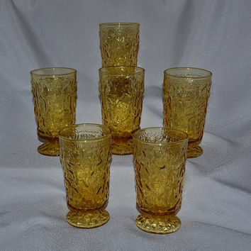 1960's Honey Gold Amber LIDO Footed Juice Glasses Set of 6 Six Ounce Anchor Hocking Glasses Hard to Find Footed