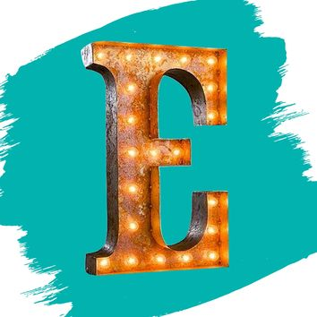 "24"" Letter E Lighted Vintage Marquee Letters (Rustic)"